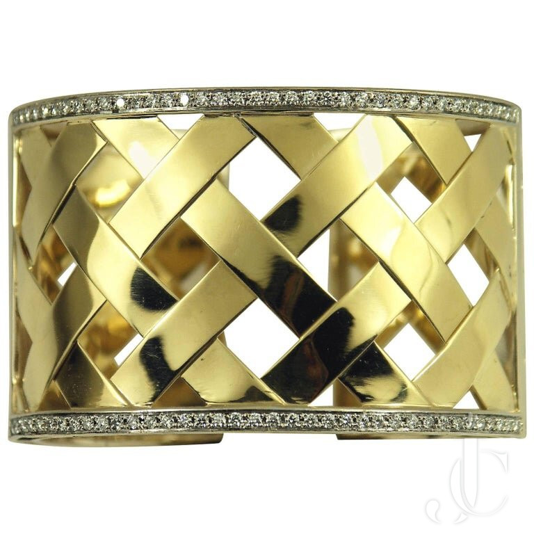 WIDE BASKET WEAVE TRELLIS STYLE DIAMOND Gold HINGED BANGLE BRACELET