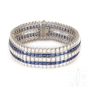 A platinum diamond and sapphire bracelet by Van Cleef & Arpels