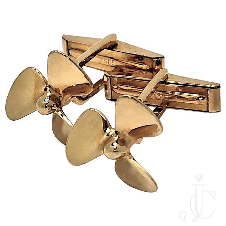 TIFFANY & CO. GOLD PROPELLER CUFF Links