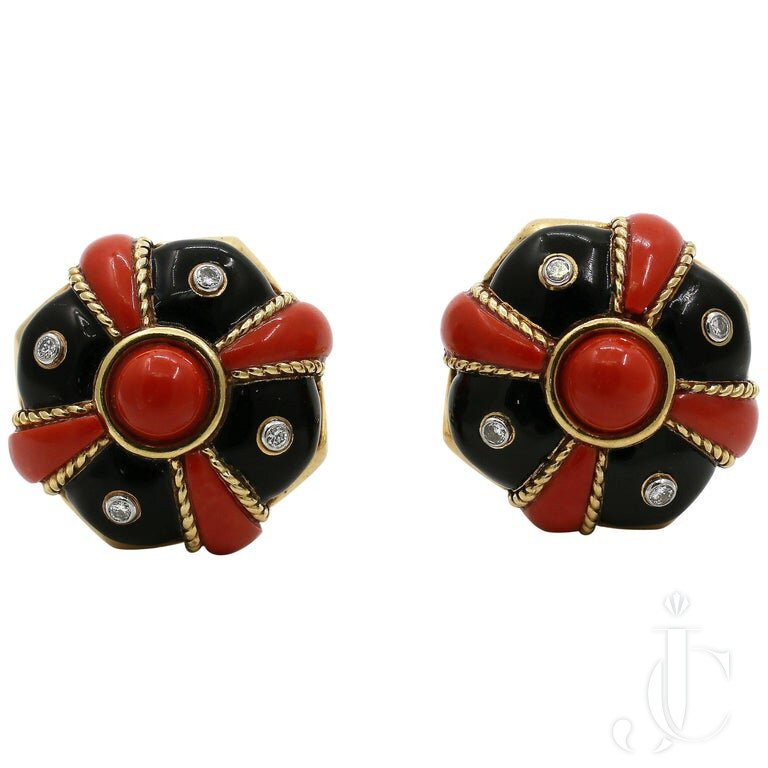 DAVID WEBB BLACK ENAMEL, CORAL And DIAMOND EARRINGS