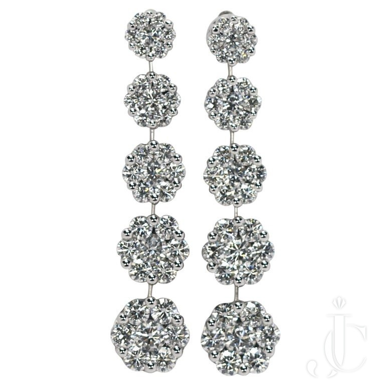 SCINTILLATING WHITE GOLD GRADUATED Floret DIAMOND DANGLE EARRINGS
