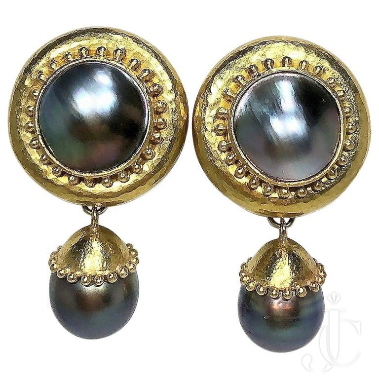 ELIZABETH LOCKE GRAY PEARL And GOLD DROP/DANGLE EARRINGS