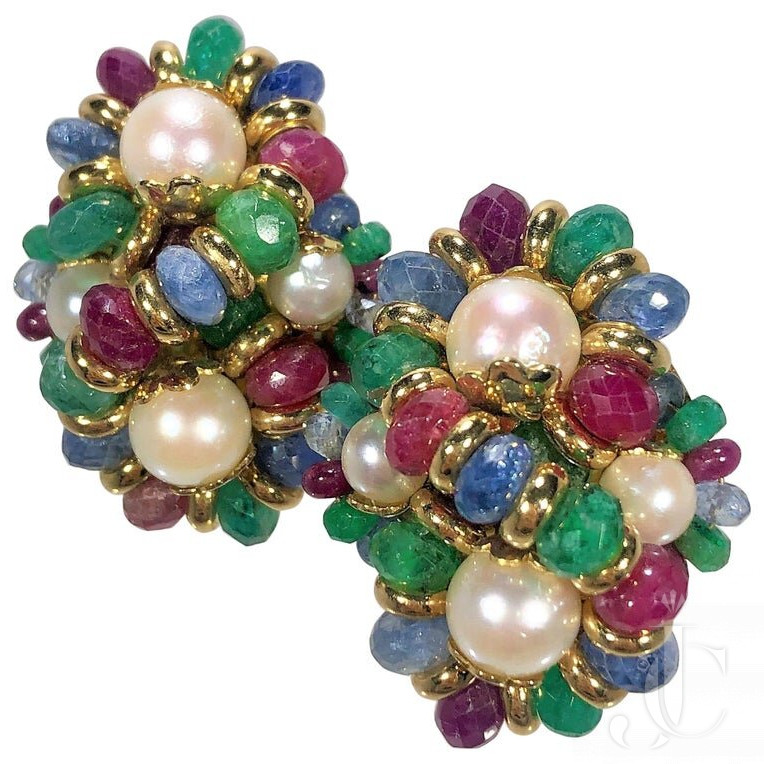 ITALIAN GOLD RUBY EMERALD SAPPHIRE And PEARL EARRINGS BY DESIGNER GIODORO