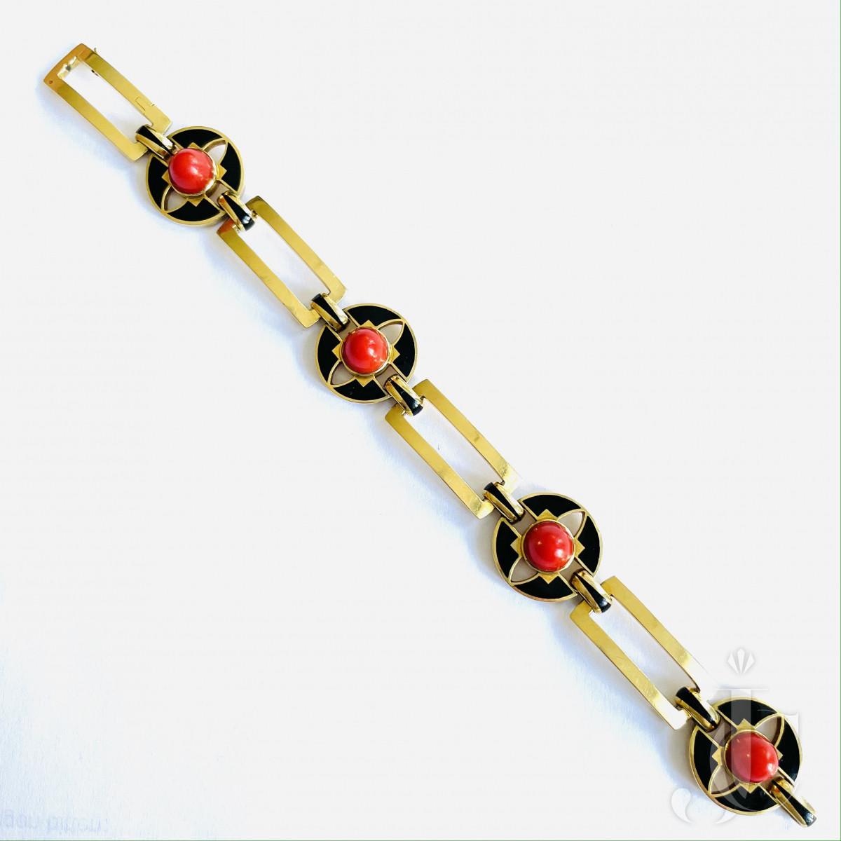 Enamel Coral Gold Bracelet