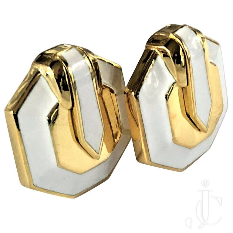 DAVID WEBB GOLD And WHITE ENAMEL EARRINGS