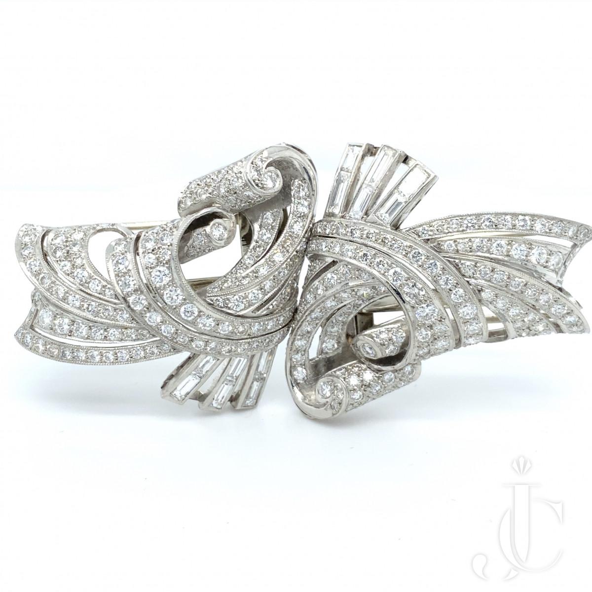 Pair of platinum diamond clips
