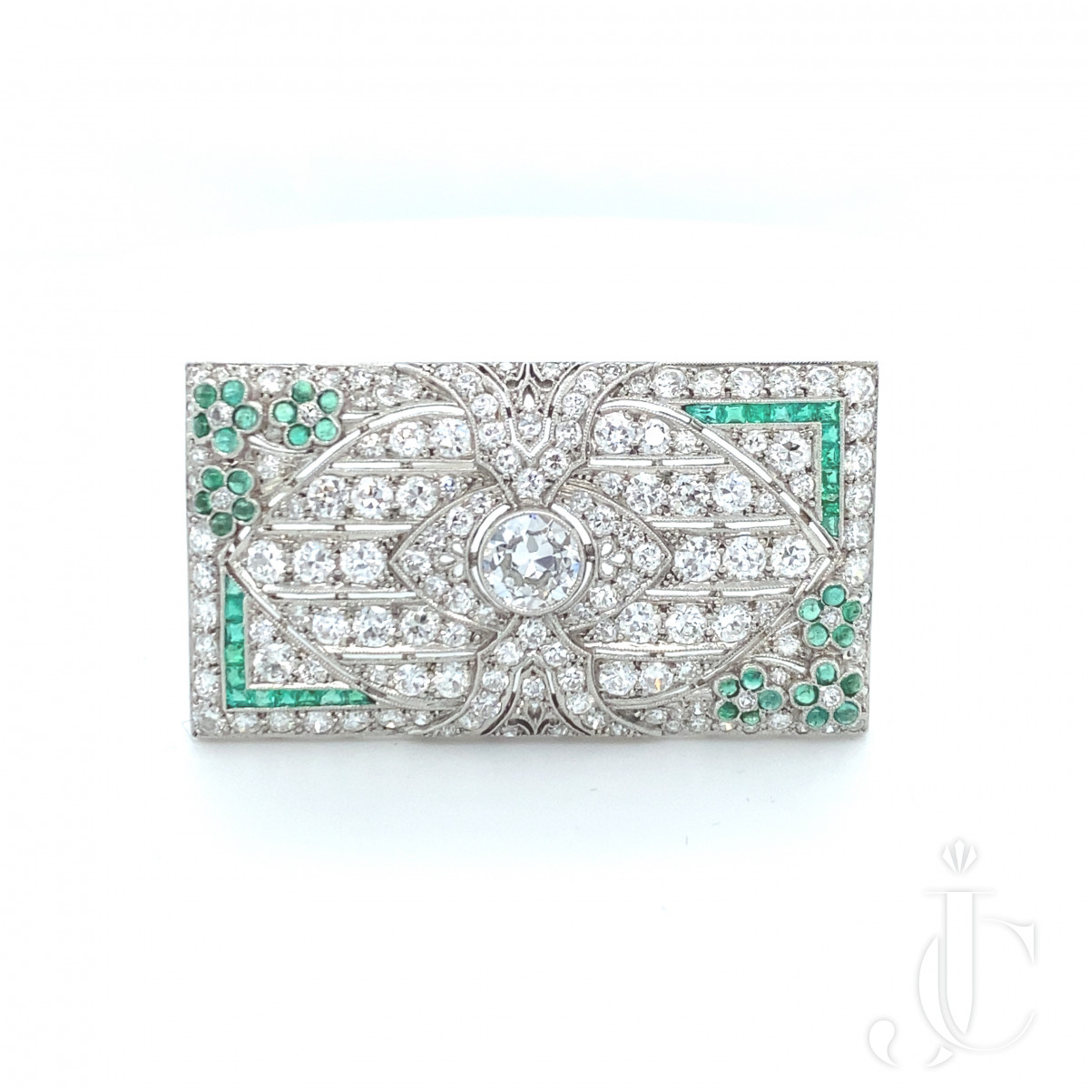 Diamond Emerald Art Deco Pin