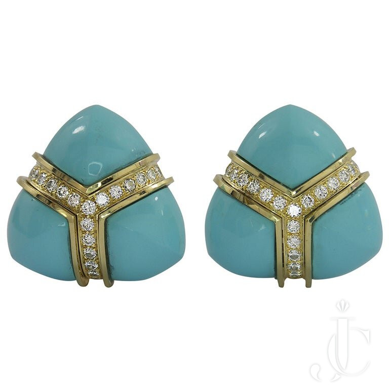 TURQUOISE DIAMOND Gold TRIANGULAR EARRINGS
