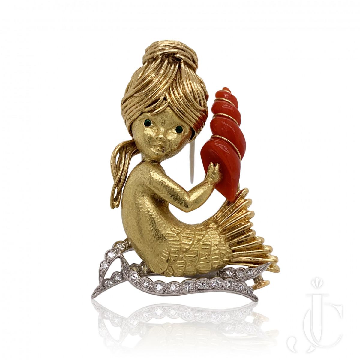 Charming VCA French Coral Diamond Mermaid Pin