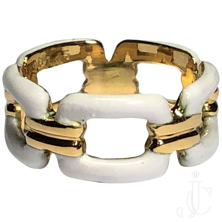 SMART LOOKING GOLD And WHITE ENAMEL OPEN LINK BAND
