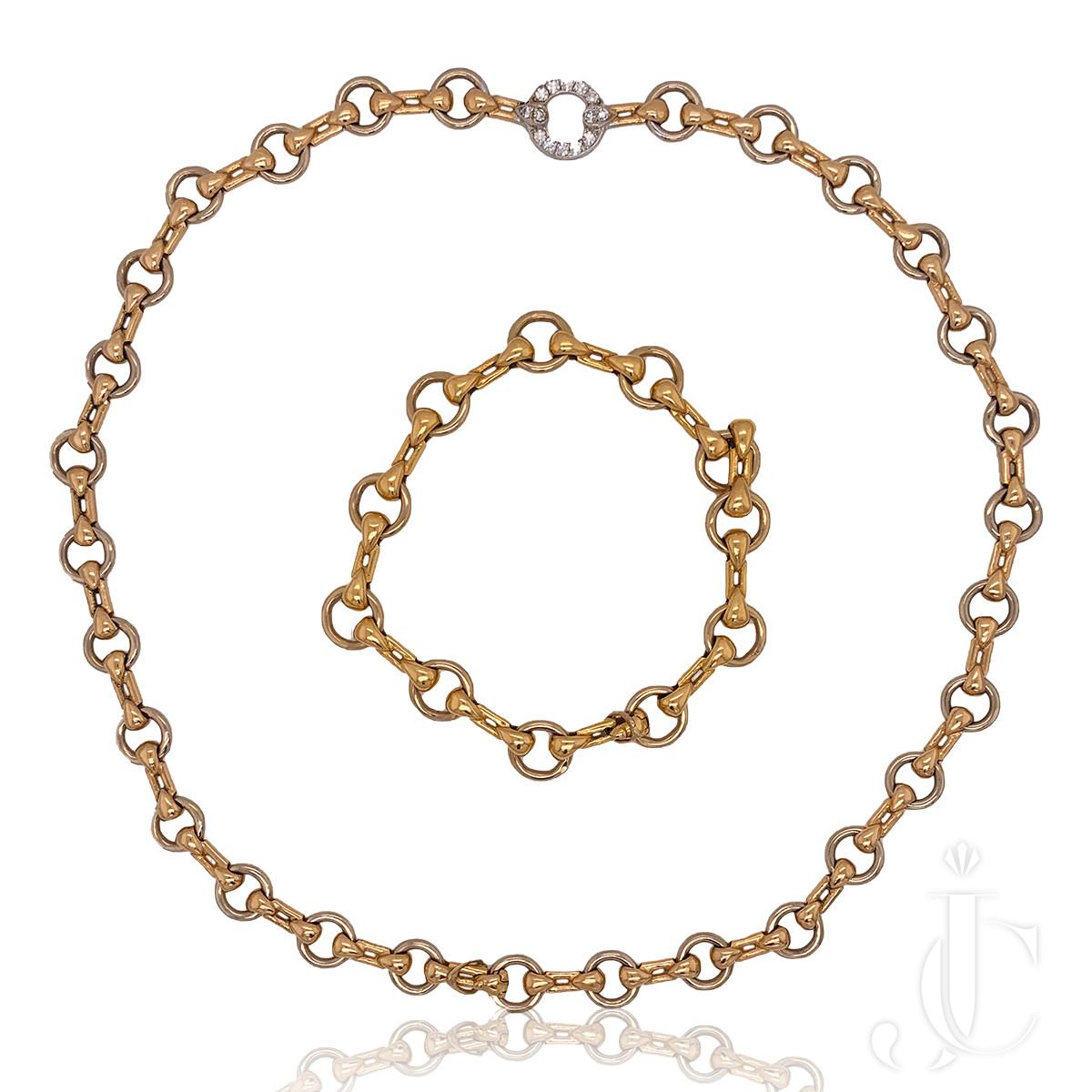 Cartier 18kt Gold Diamond Necklace/Bracelet