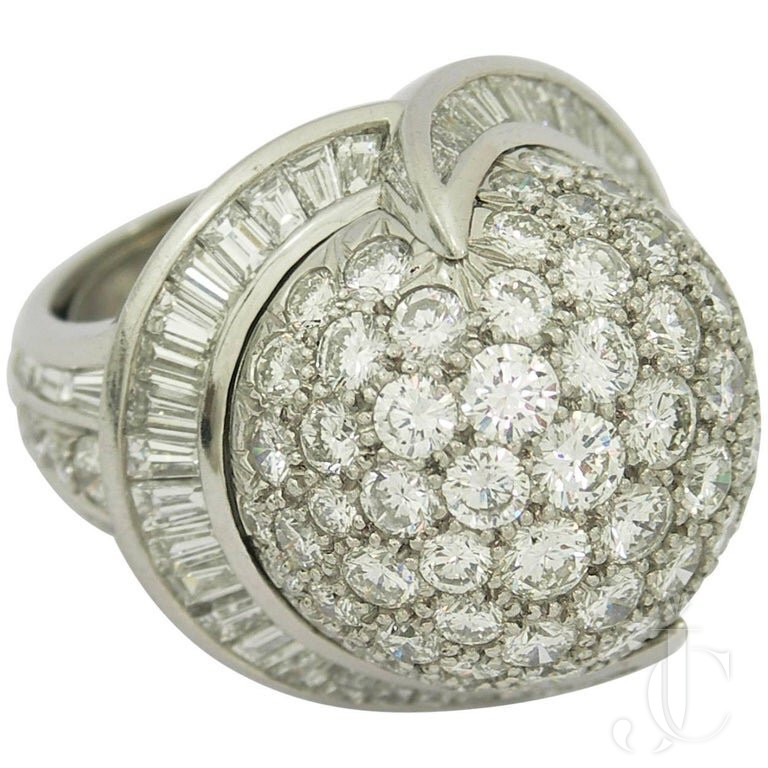 VALENTIN MAGRO PLATINUM ROUND DIAMOND And BAGUETTE DIAMOND GLOBE RING