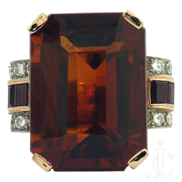 RETRO STYLE CITRINE RUBY DIAMOND Gold PLATINUM RING