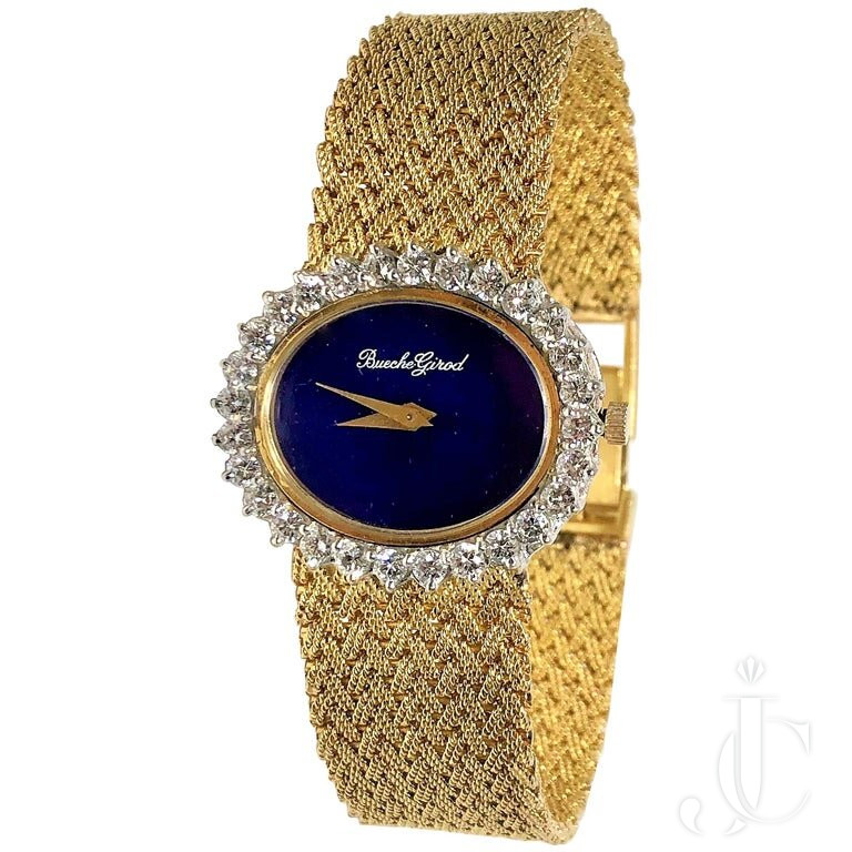 YELLOW GOLD LADIES BUECHE GIROD WATCH WITH OVAL LAPIS DIAL And DIAMOND BEZEL