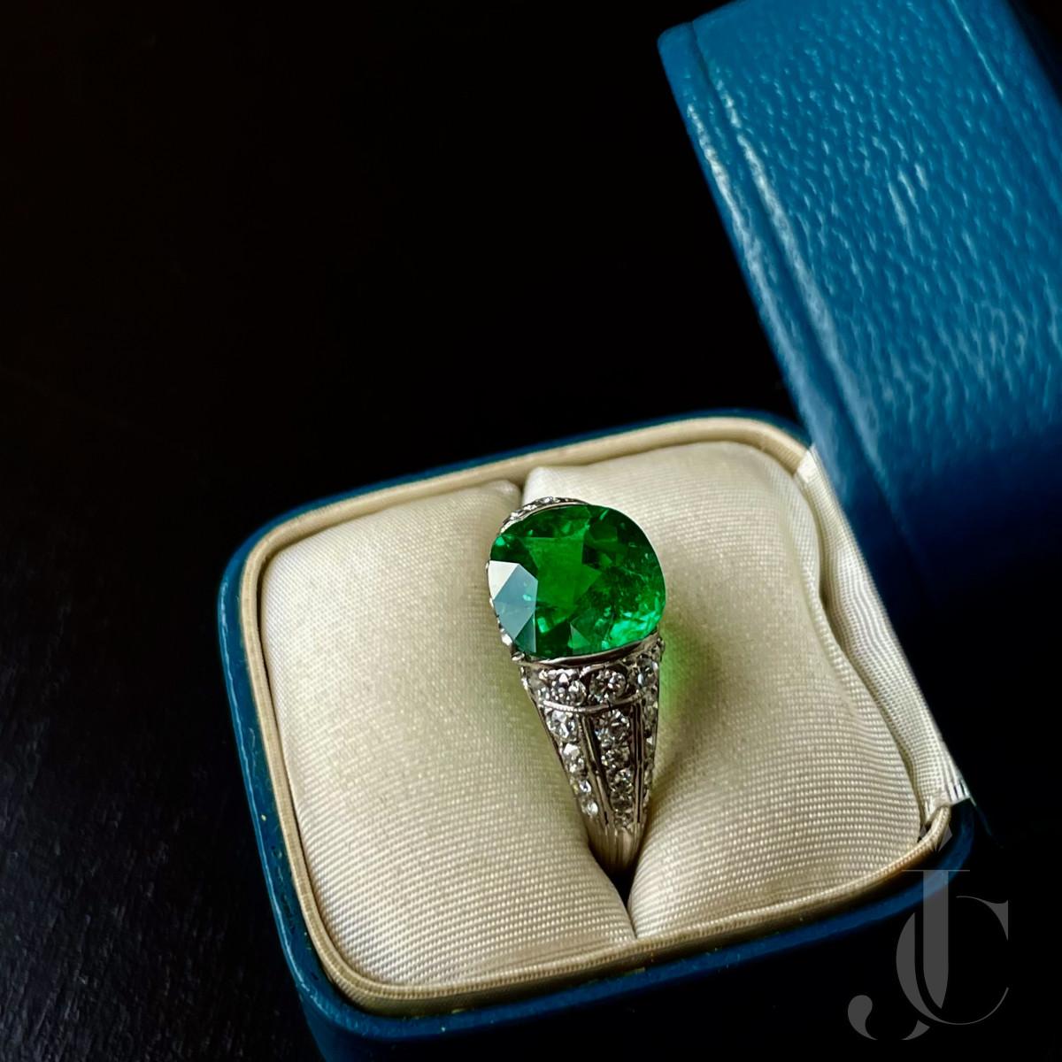 Tiffany early deco un-enhanced emerald ring