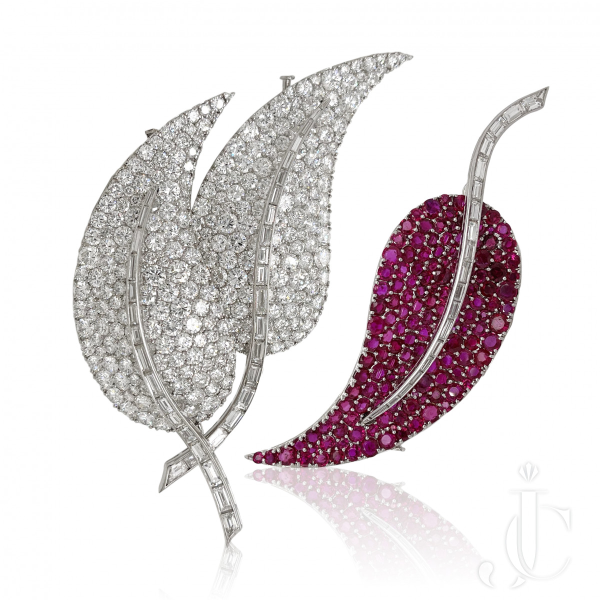 Spectacular French Diamond Ruby Interchangeable Pins