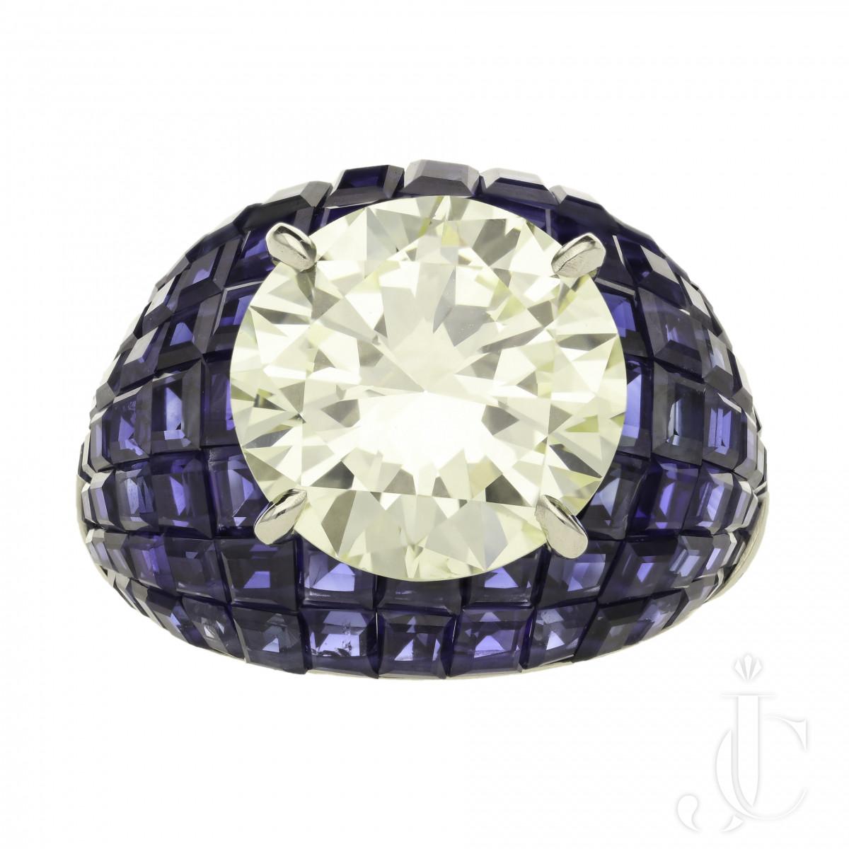 Oscar Heyman - 8.24ct Diamond & invisibly-set sapphire ring