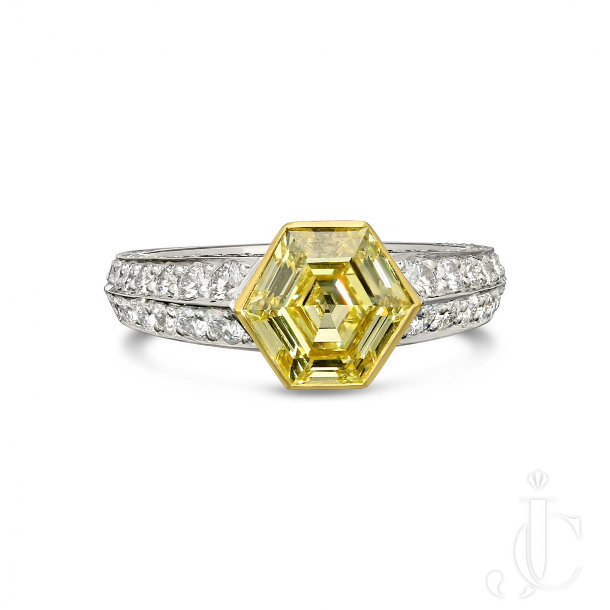 1.56ct FY VVS1 Old Hexagonal Step Cut Diamond ring
