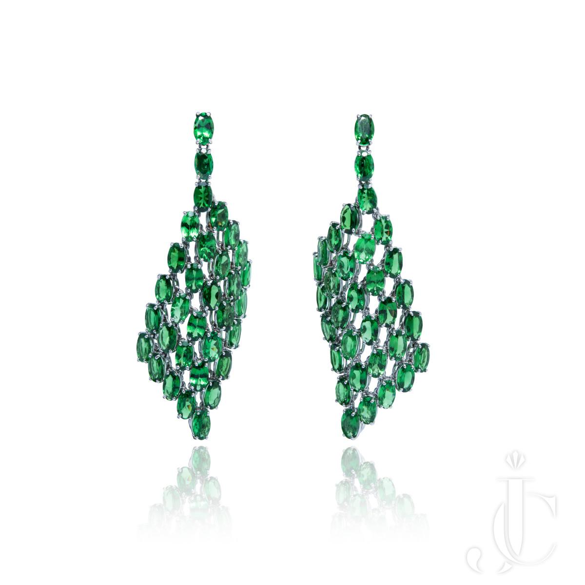 An Order of Bling  Tsavorite Dangle Earrings in 18K Green Gold