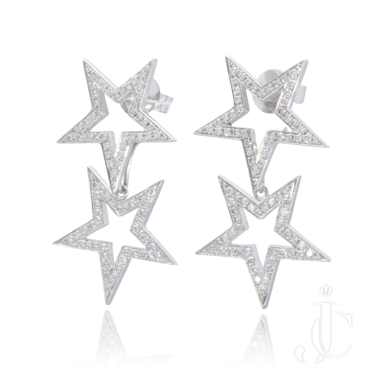 An Order of Bling Diamond Star Earrings, 18 Karat White Gold