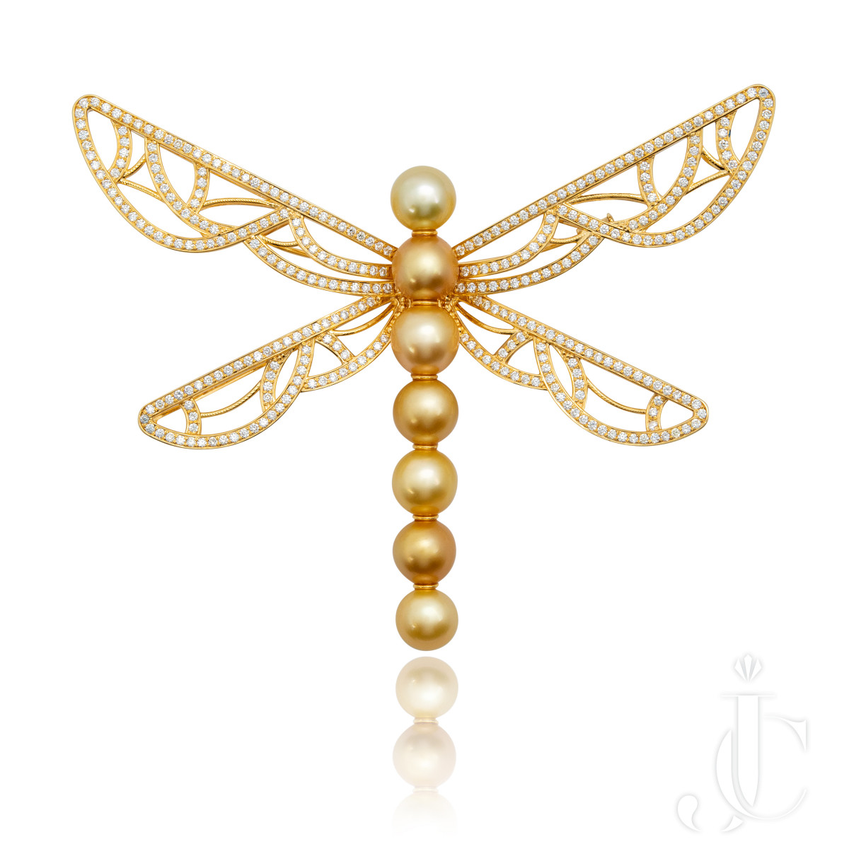 An Order of Bling Golden South Sea Pearl and Diamond Brooch and Pendant