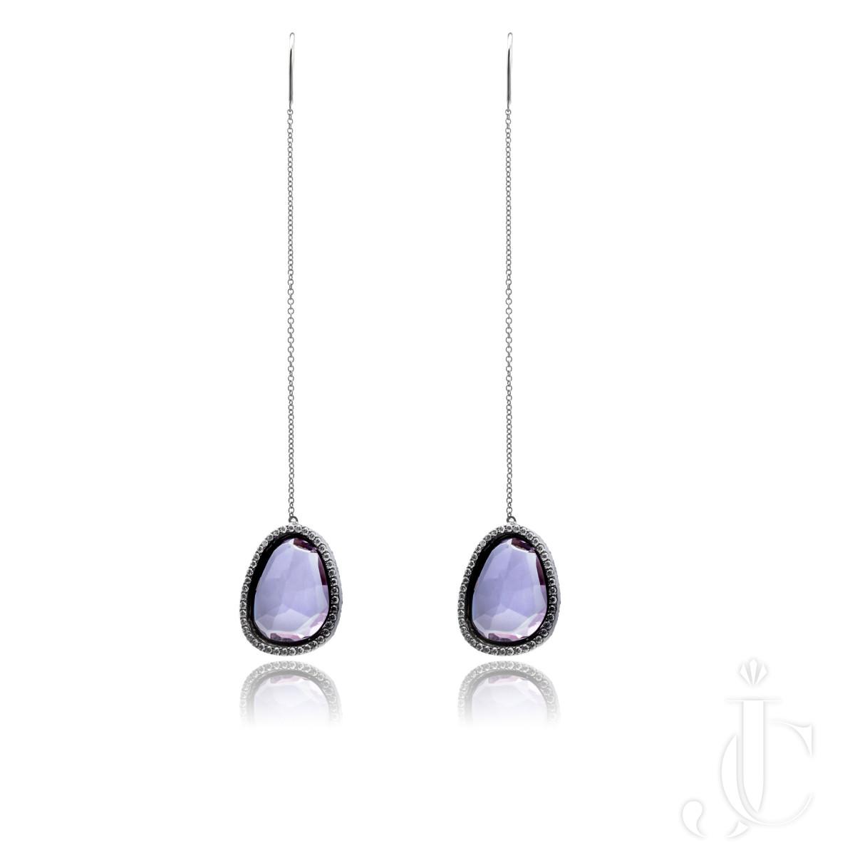 An Order of Bling Amethyst Slice and Diamond Earrings, 18 Karat Black Gold