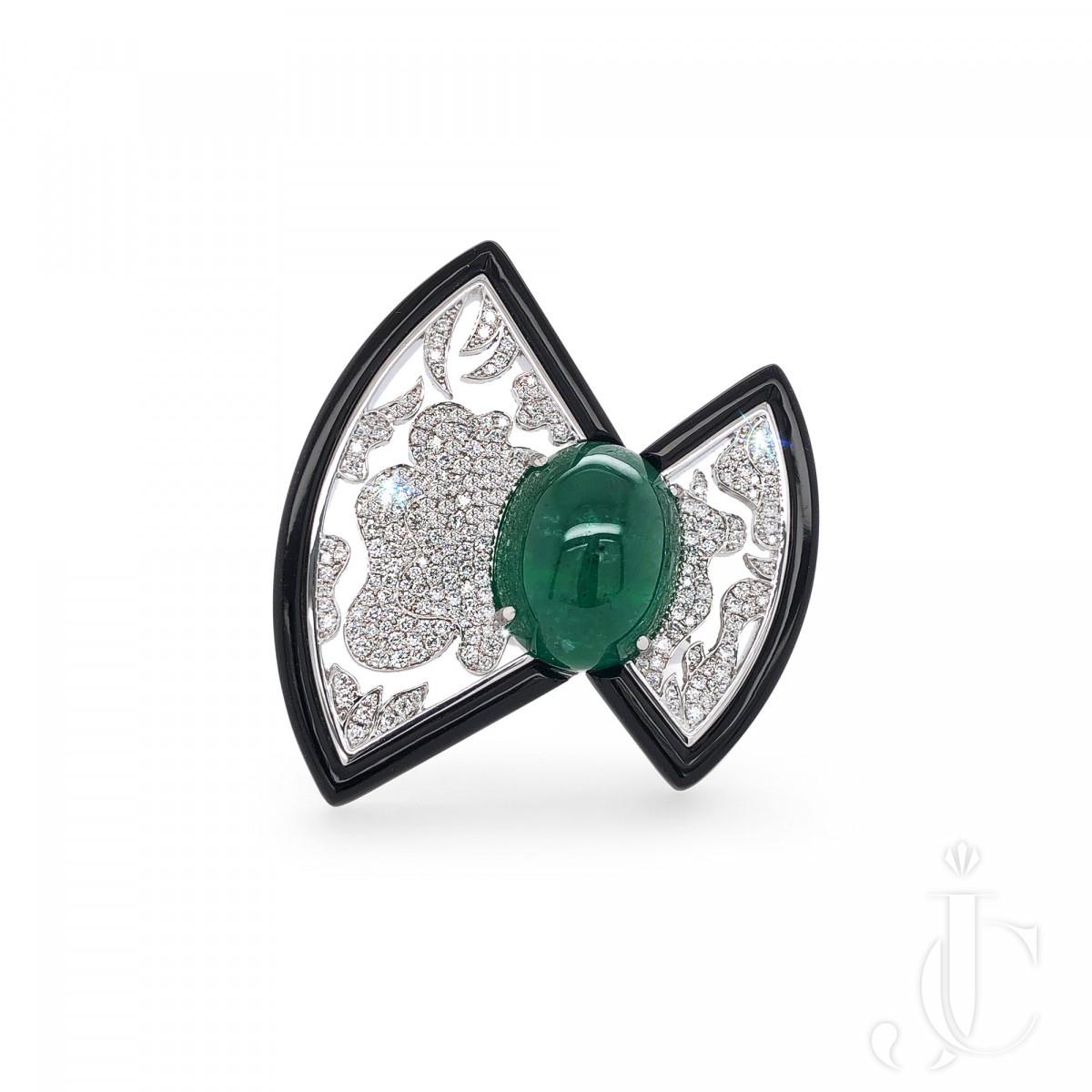 An Order of Bling Emerald, Diamond & Onyx Ring, 18 Karat Gold