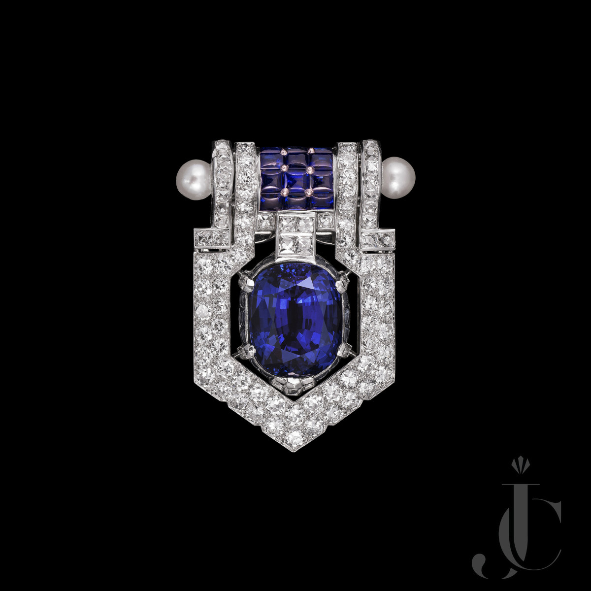 Over 20 cts Unheated Sri Lankan Sapphire Diamond Brooch from Cartier