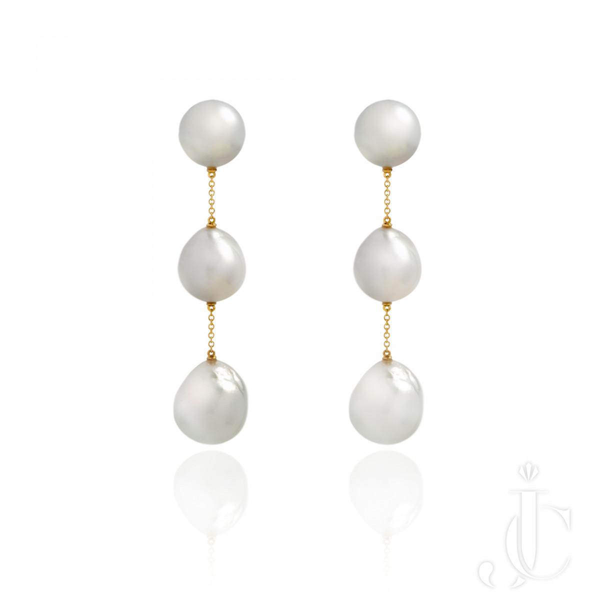 An Order of Bling Baroque Pearl Earrings 18K Karat Yellow Gold
