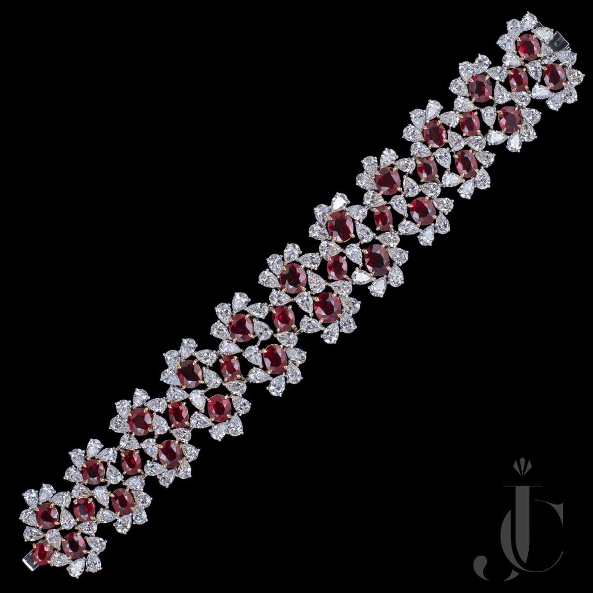 Unheated Pigeon Blood Burmese Ruby Diamond Bracelet, GIA certs available