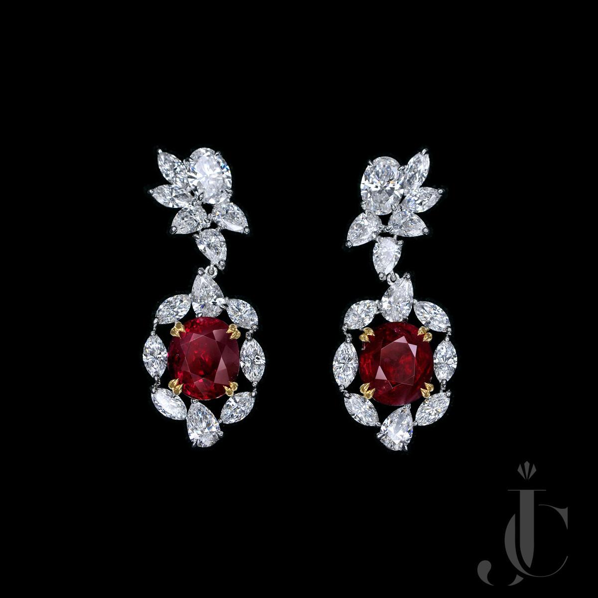Unheated Pigeon Blood Burmese Ruby Diamond Earrings, GRS/GUB/SSEF certs available
