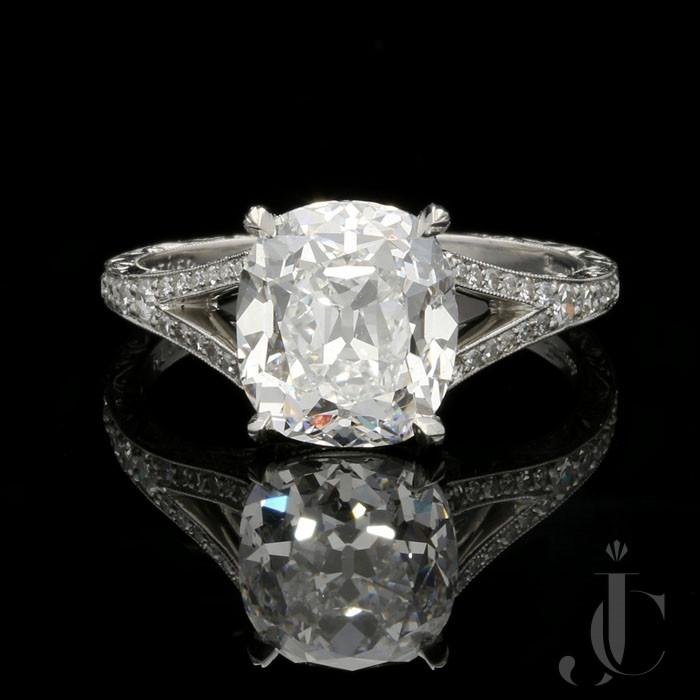 3.02ct D SI1 Cushion cut Diamond solitaire ring