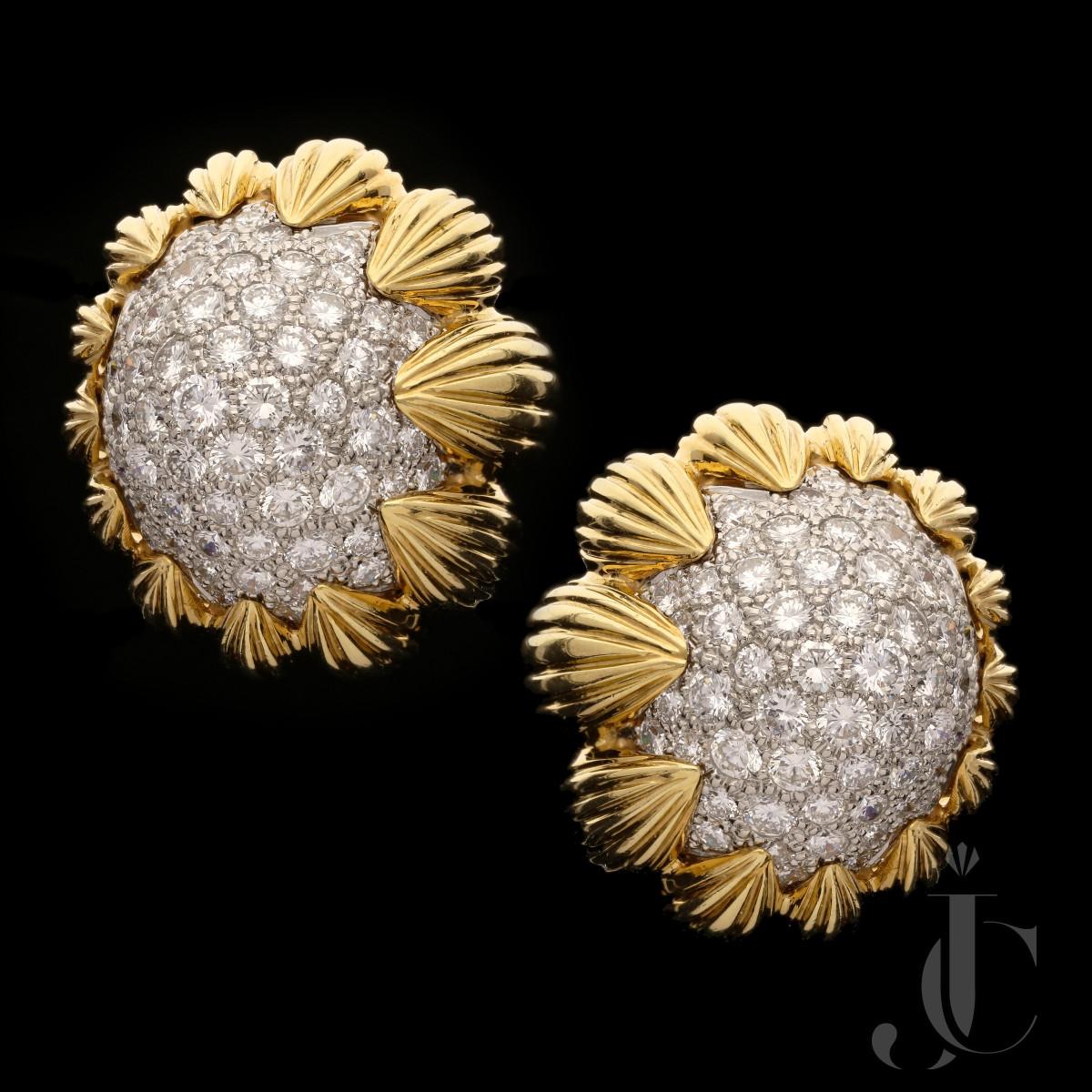 David Webb- Pave diamond Bombe earclips c.1960s