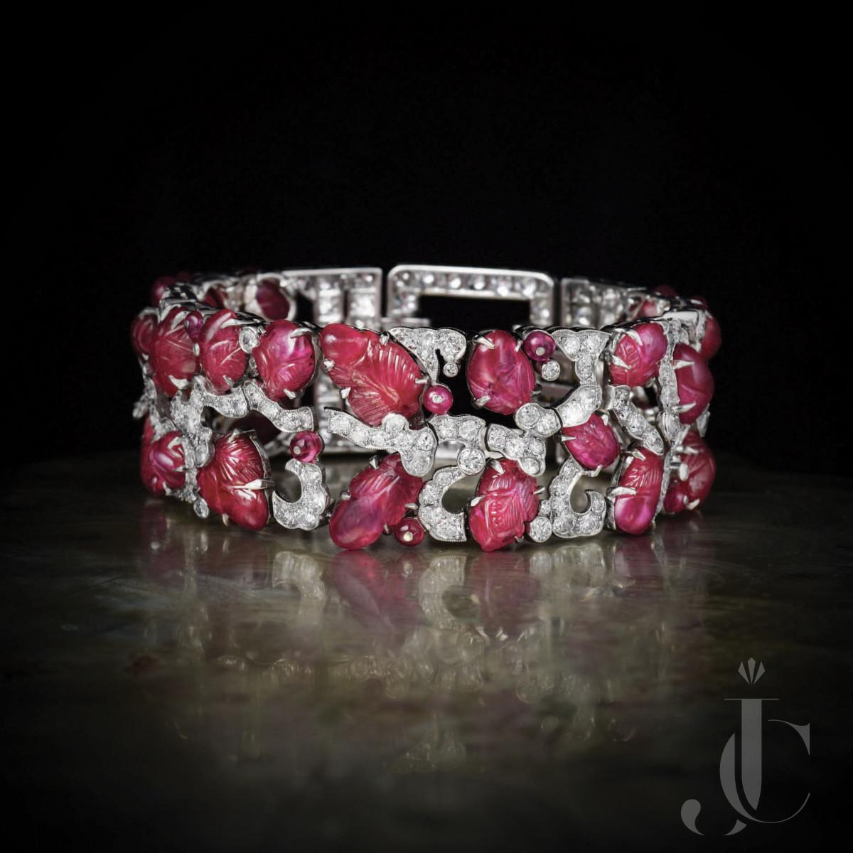 Art Deco Carved Ruby Diamond Bracelet