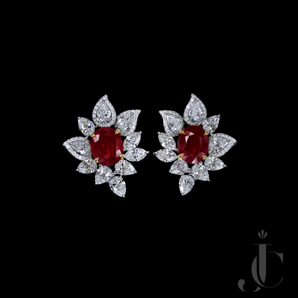 Over 3 carats each Pigeon Blood Unheated Burmese Ruby Diamond Earrings