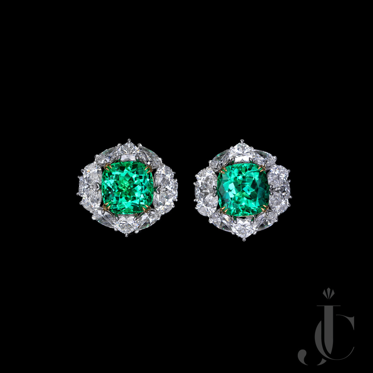 Over 6 cts each Untreated Vivid Green Columbian Emerald Diamond Earrings, SSEF/AGL certs available