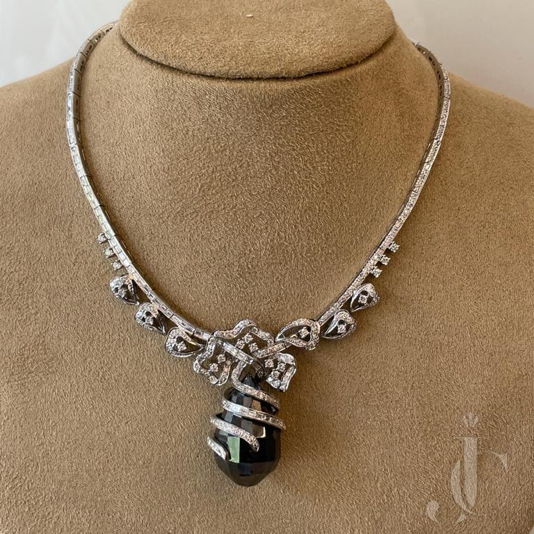Stylish Black & White Diamond Necklace