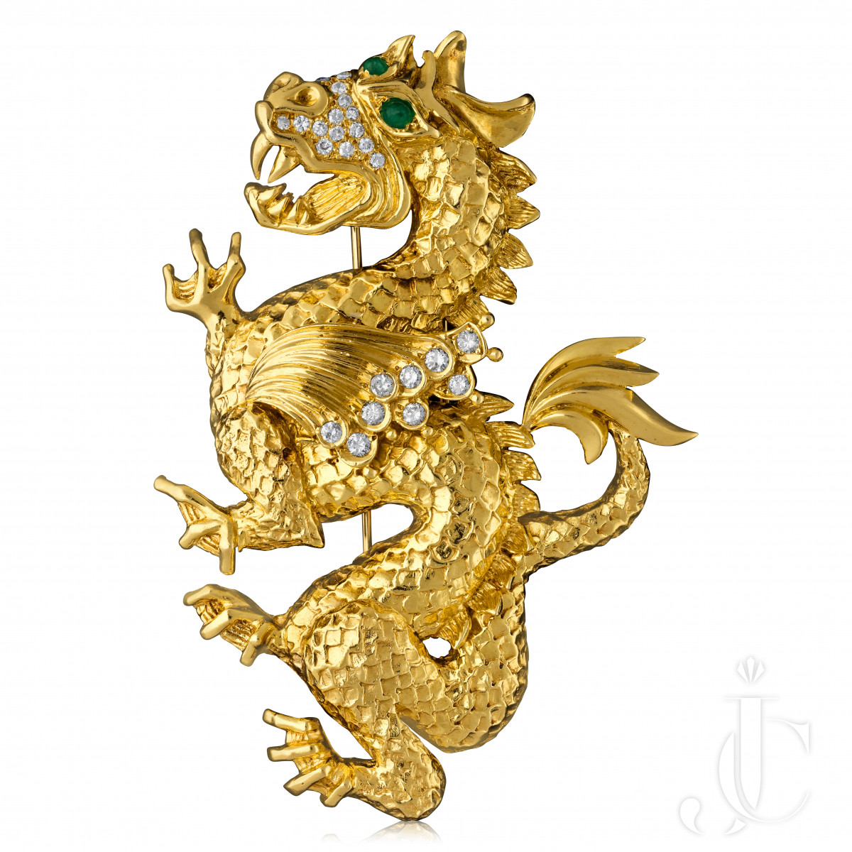 Van Cleef & Arpels- Large Gold/Diamond Emerald Dragon c.1969