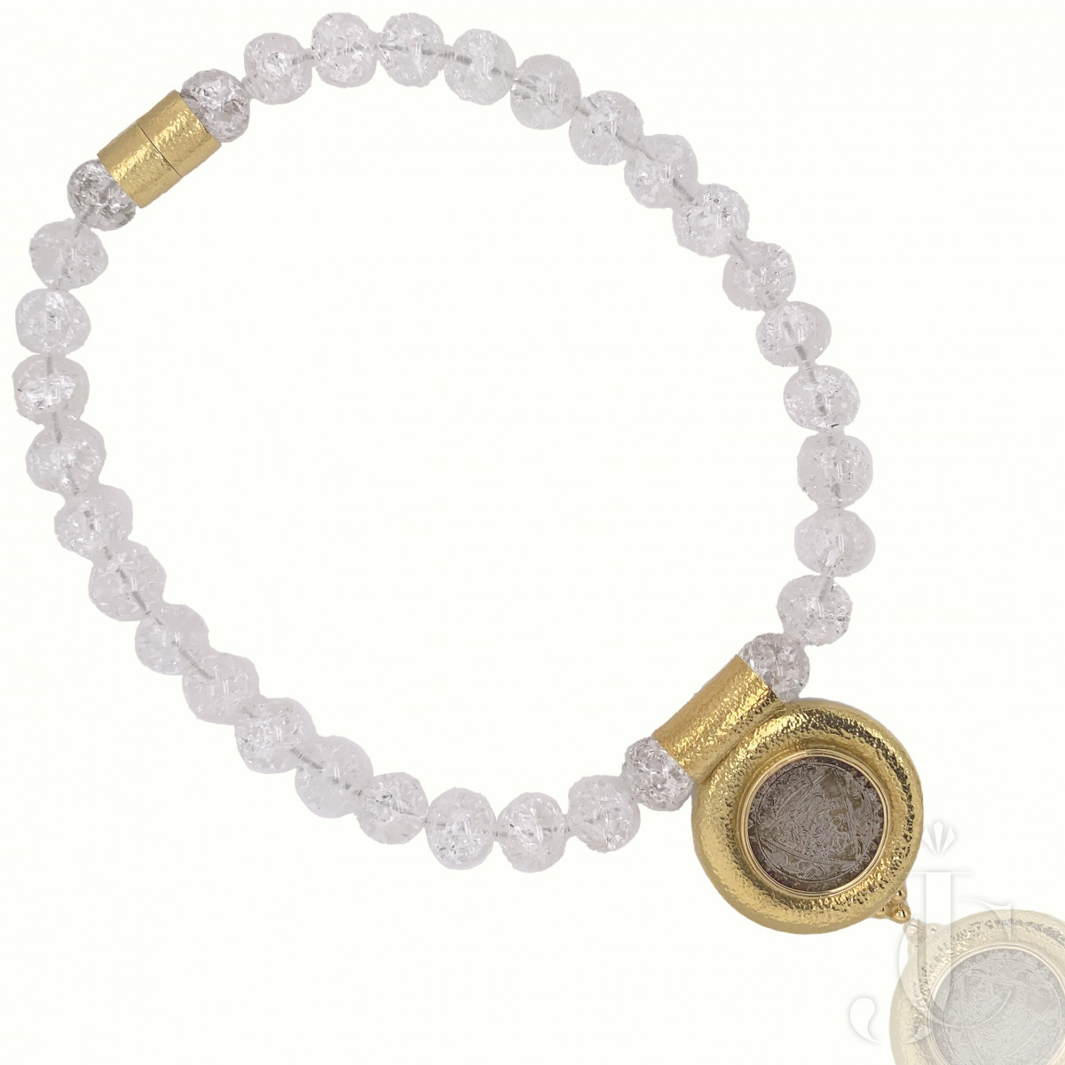 E.Gage Crystal Bead 18kt yg Coin Necklace
