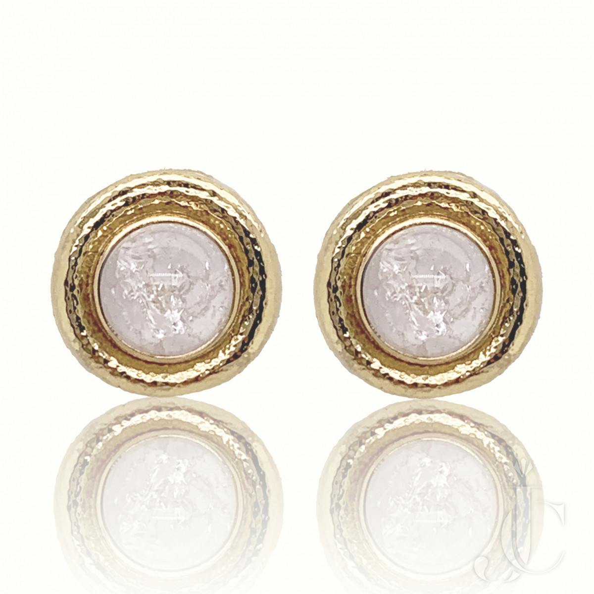E.Gage Crystal 18kt Gold Earrings