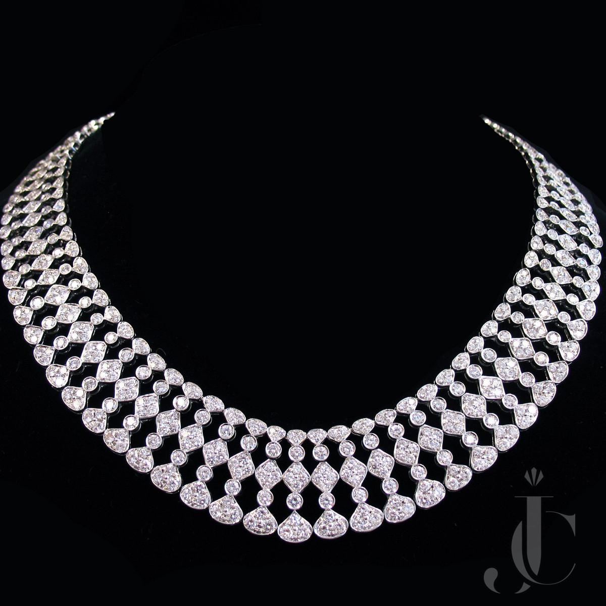 H. Stern  Lace 18 Kt White Gold Diamonds Necklace