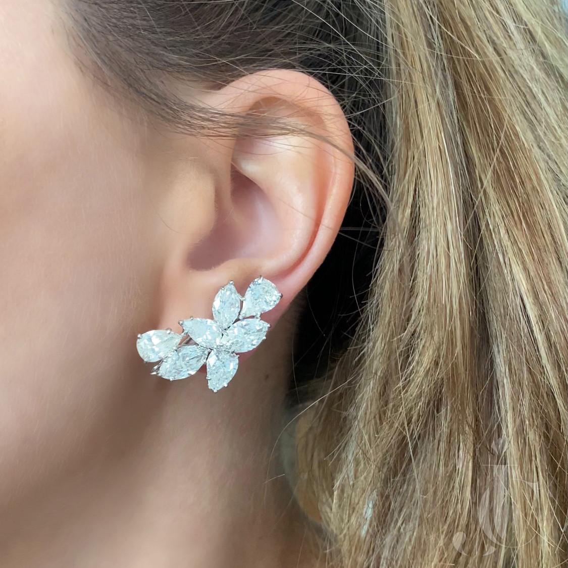 Platinum Fancy Diamond Cluster Earclips