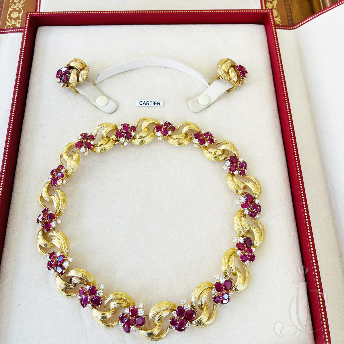 18kt Ruby and Diamond Necklace and Earrings, Cartier - Paris, circa 1955