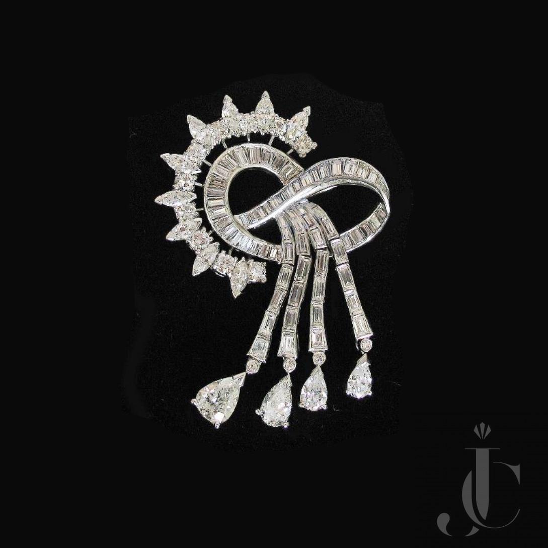 Platinum Diamonds Drape Brooch, circa 1955