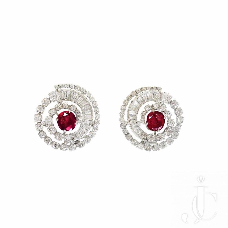 Platinum Ruby and Diamond Spiral Earrings, circa 1955