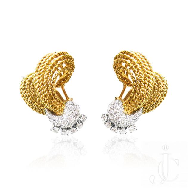 18 Kt. Yellow Gold Diamond Earrings, circa 1965
