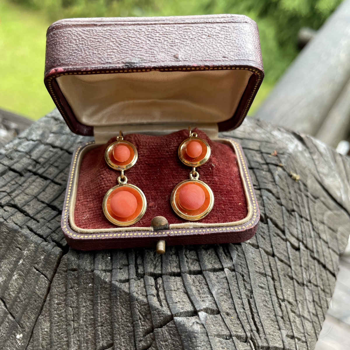 Antique French 18kt coral earrings in box
