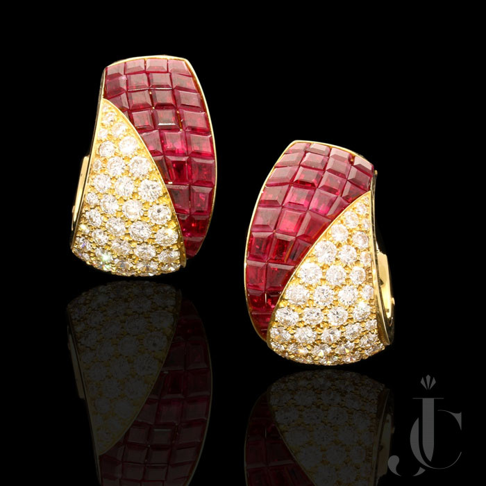 Van Cleef & Arpels - Ruby/Diamond Sertie Invisible earrings