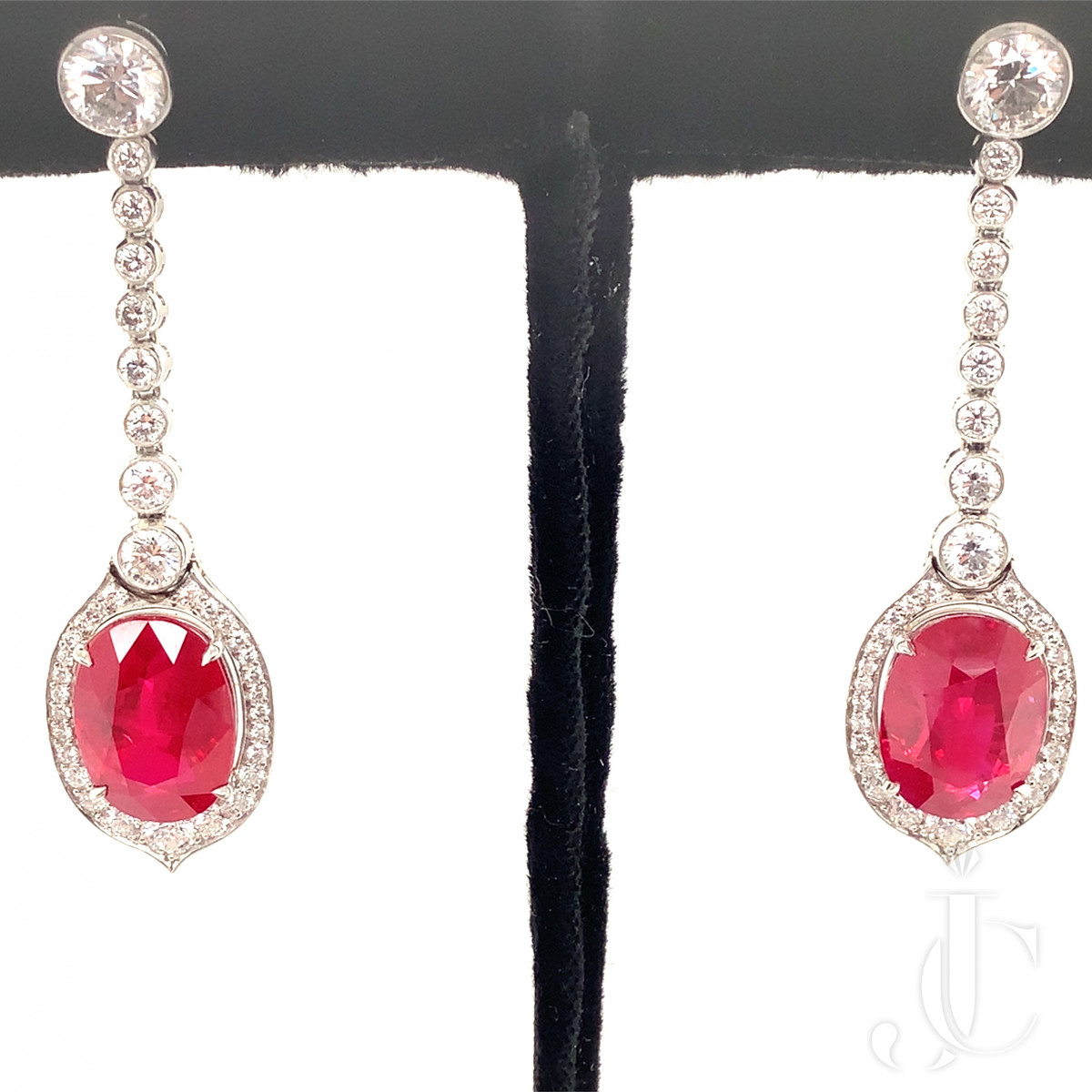Contemporary Ruby and Diamond Drop Earrings