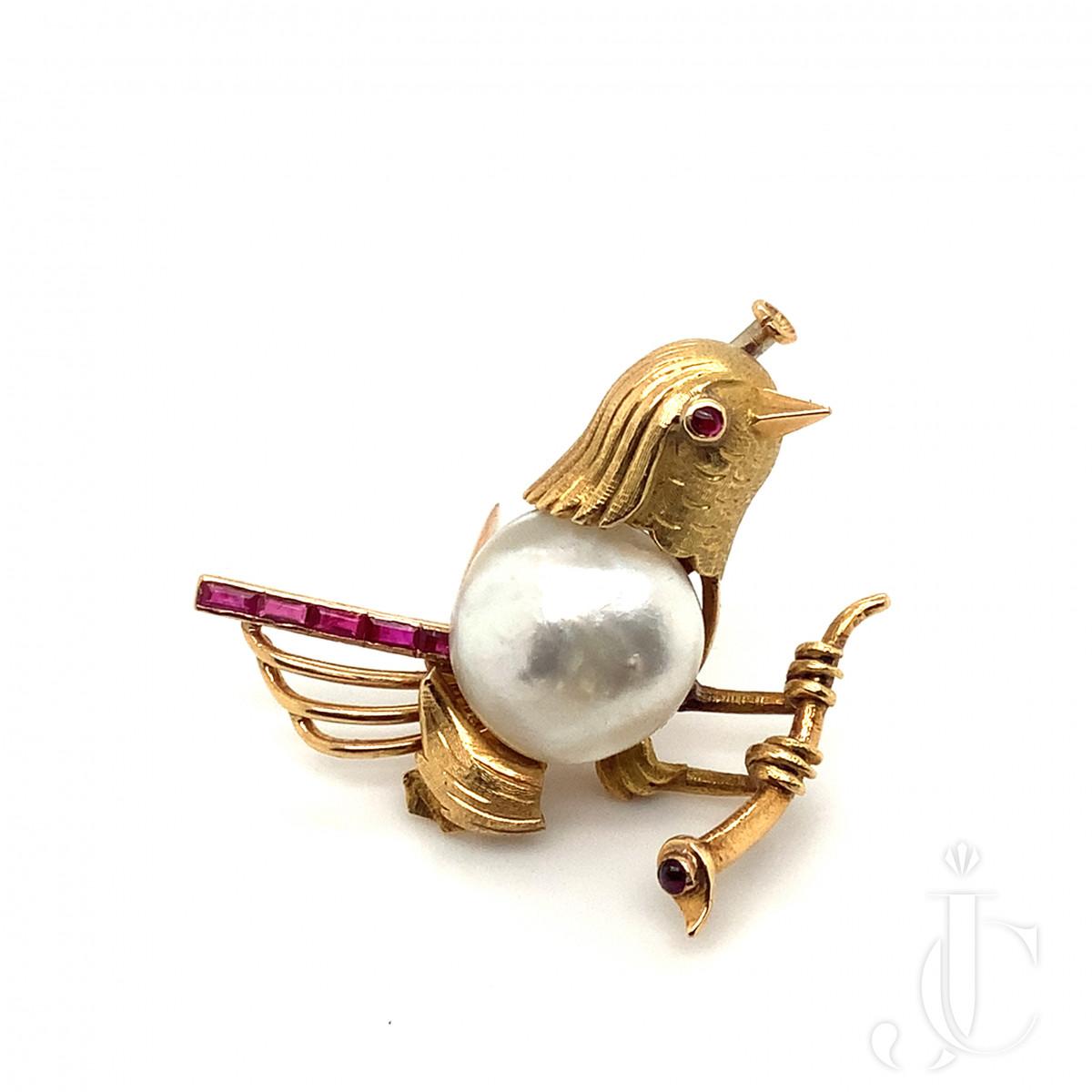 Natural Pearl Bird Brooch